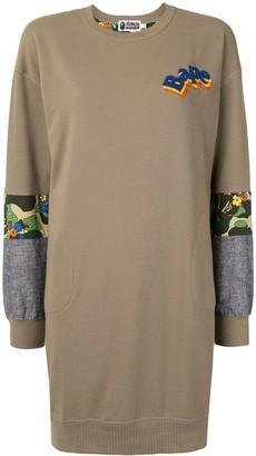 A Bathing Ape Contrast-Panel Sweatshirt Dress