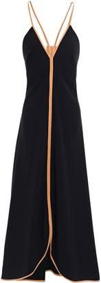 Victoria Beckham Open-back Leather-trimmed Crepe Midi Dress