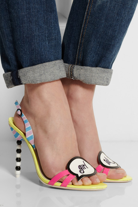Webster Sophia Girl Talk patent-leather and canvas slingbacks