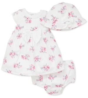 Little Me Baby Girls 3-Pc. Cotton Floral-Print Hat, Dress & Diaper Cover Set