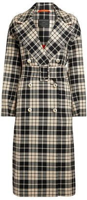 Mother of Pearl Meg Contrast Check Trench Coat