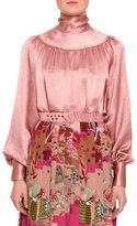 Valentino Tie-Neck Long-Sleeve Blouse, Blush