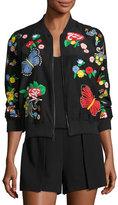 Alice + Olivia Felisa Embroidered Bomber Jacket, Black Multicolor