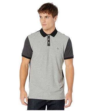 Original Penguin Short Sleeve Color Block Pique (Rain Heather) Men's Clothing