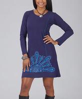 Aller Simplement Navy & Turquoise Ornate Shift Dress