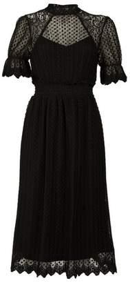 Dorothy Perkins Womens *Tfnc Black Midi Pleated Lace Skater Dress, Black