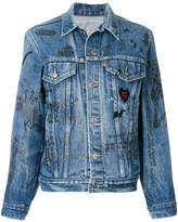 R 13 scribble print denim jacket