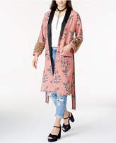 Endless Rose Faux-Fur-Trim Kimono Jacket