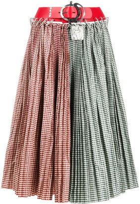 Chopova Lowena Two-Tone Gingham Pleated Skirt