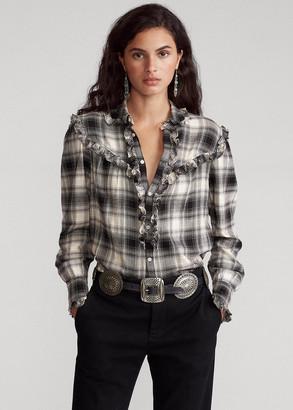Ralph Lauren Ruffle-Trim Plaid Shirt