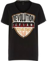 River Island Womens Black 'revolution' band print choker T-shirt