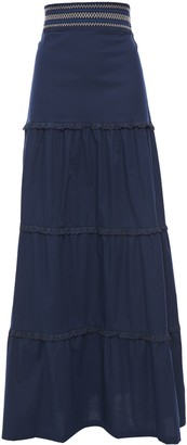 Isolda Broderie Anglaise-trimmed Shirred Cotton-blend Maxi Skirt