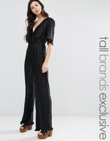 Fashion Union Tall Pleated Plunge Front Jumpsuit