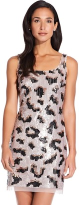 Adrianna Papell Leopard Print Sequin Mini Sheath Dress