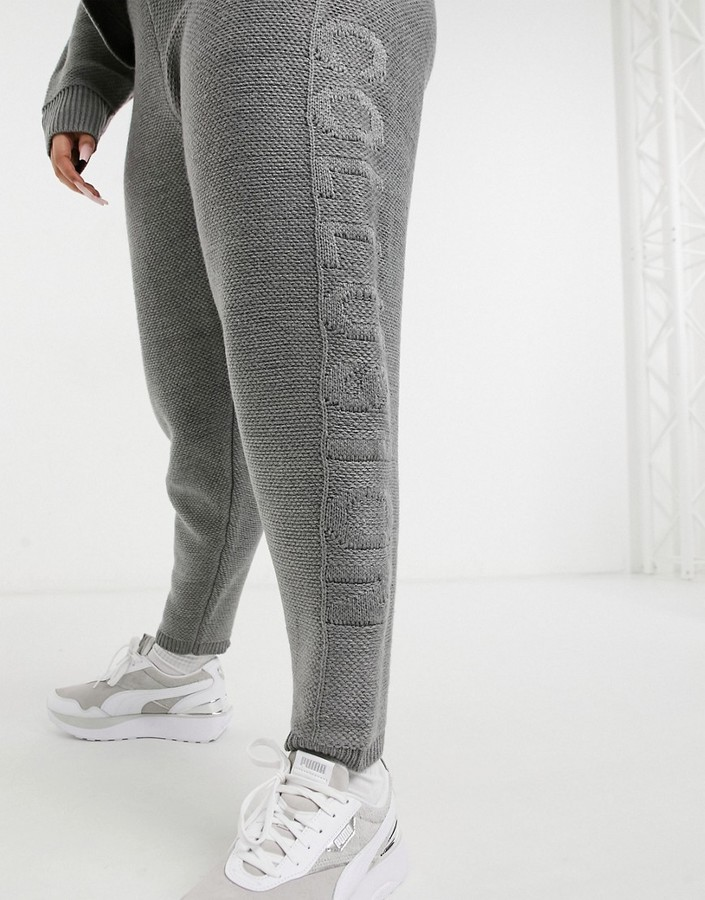 Thumbnail for your product : Collusion Plus knitted joggers co-ord with embossed logo in grey