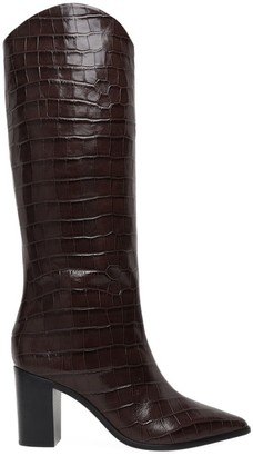 Schutz Analeah Croc-Embossed Leather Boots