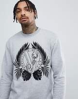 Versace Sweatshirt In Gray With Embroidered Tiger Jungle Print