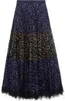 Saloni Karen Paneled Metallic Lace Maxi Skirt