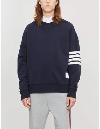 Thom Browne Stripe-trimmed cotton-jersey sweatshirt
