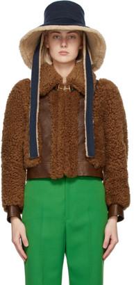 Gucci Navy Wool Wide Brim Hat