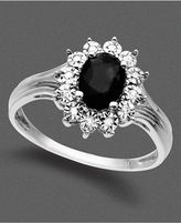 14k White Gold Ring, Onyx and Diamond Accent
