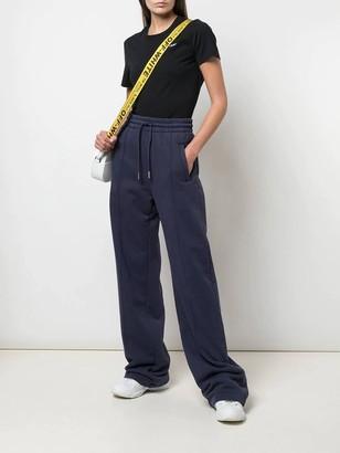 Flared Drawstring Track Pants Blue