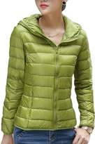 CHERRY CHICK Women's Packable Down Jacket with Hood Light Brown