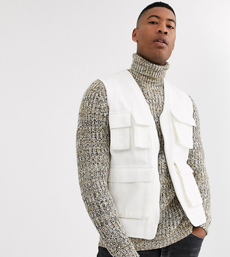 ASOS DESIGN Tall utility gilet in ecru