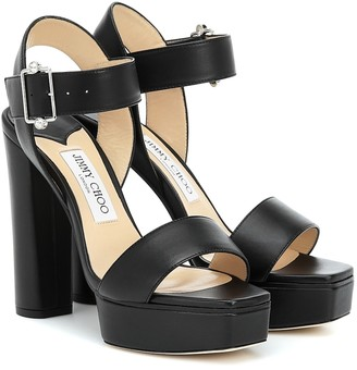 Jimmy Choo Maie 125 leather platform sandals