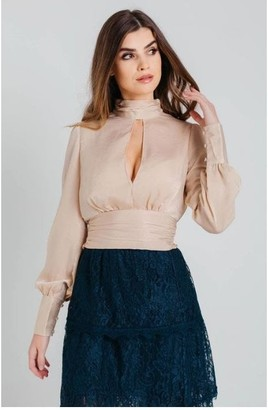Pretty Darling Champagne Satin High Neck Top