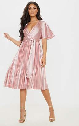 PrettyLittleThing Mairee Dusty Pink Satin Pleated Midi Dress