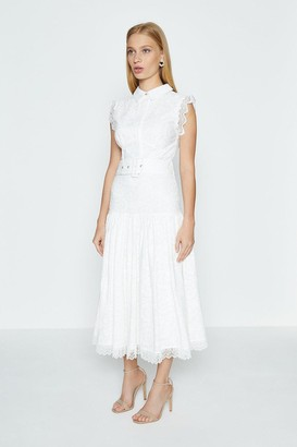 Coast Embroidered Belted Shirt Dress With Lace Trim