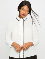 ELOQUII Plus Size Circle Lace Trim Button Down