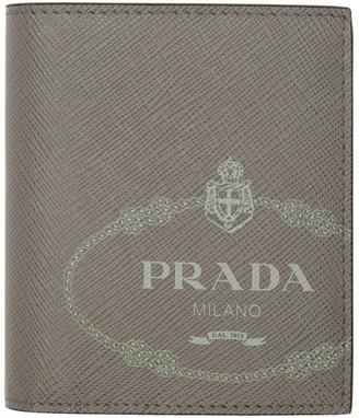 Prada Grey Saffiano Bifold Wallet