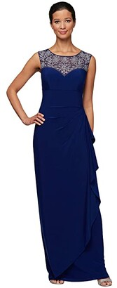Alex Evenings Petite Long Sleeveless Overlay Cascade Dress (Bright Sapphire) Women's Dress