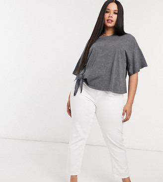 ASOS DESIGN Curve t-shirt with knot side in charcoal