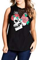City Chic Plus Size Women's Skull Graphic Tank