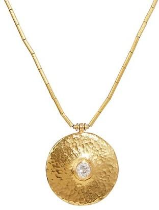 Gurhan Droplet 22K & 24K Yellow Gold & Diamond Pendant Necklace