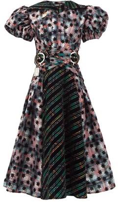 Chopova Lowena Belted Checked Taffeta And Organza Midi Dress - Black Multi