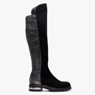 Albano Stargard Black Suede Stretch Over The Knee Boots