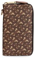 Burberry Monogram-Print E-Canvas Leather Wallet