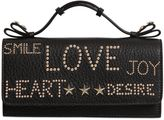 RED Valentino Letter Studs Grained Leather Clutch