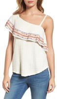 Lucky Brand Women's Embroidered One-Shoulder Top