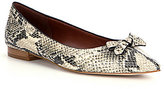 Cole Haan Alice Women's Snake-Print Bow Detail Leather Skimmers