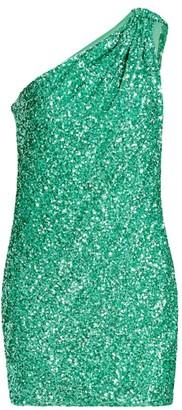 Amen One-Shoulder Sequin Mini Dress