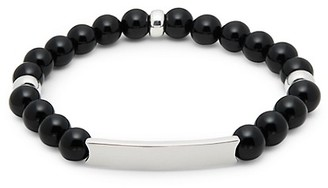 Saks Fifth Avenue Sterling Silver Black Onyx Bead ID Bracelet