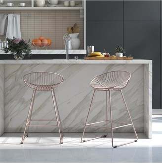 Cosmoliving Ellis Wire Bar Stool -Blush Pink