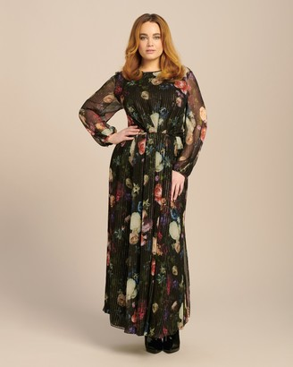 ADAM by Adam Lippes Lurex Chiffon Long Sleeve Gown with Pleated Waist