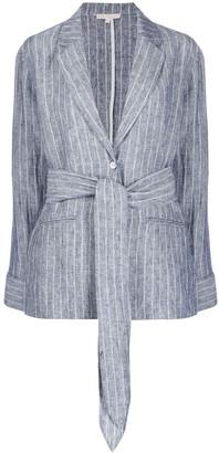 Gold Hawk Striped Tie Waist Blazer