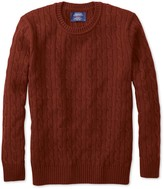 Burnt Orange Lambswool Cable Knit Crew Neck Jumper
